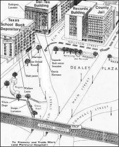 Emplacements des tireurs de Dealey Plaza