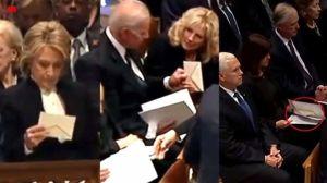 Biden reçoit une lettre aux funérailles de Bush senior